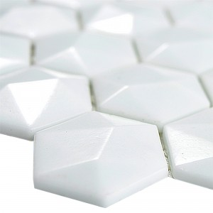 Glass Mosaic Tiles Benevento Hexagon 3D White
