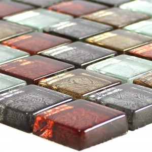 Glass Mosaic Tiles Curlew Red Brown Silver Square 23
