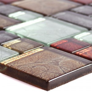 Glass Mosaic Tiles Curlew Red Brown Silver 2 Mix