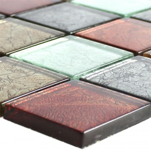 Glass Mosaic Tiles Curlew Red Brown Silver Square 48