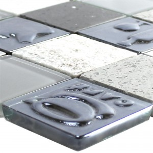 Glass Stainless Steel Natural Stone Mosaic Emporia Grey Silver