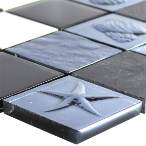 Glass Stainless Steel Natural Stone Mosaic Emporia Black Silver