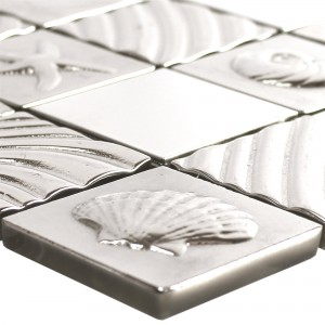Glass Stainless Steel Natural Stone Mosaic Emporia Silver
