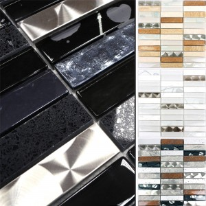 Mosaic Tiles Musical Glass Stone Steel Mix