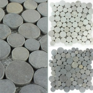 Mosaic Tiles River Pebbles Coin Round
