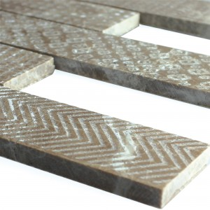 Marble Natural Stone Stripe Mosaic Tiles Grover Brown