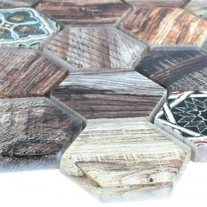 Glass Natural Stone Mosaic Eritrea Wood Optic Brown Grey