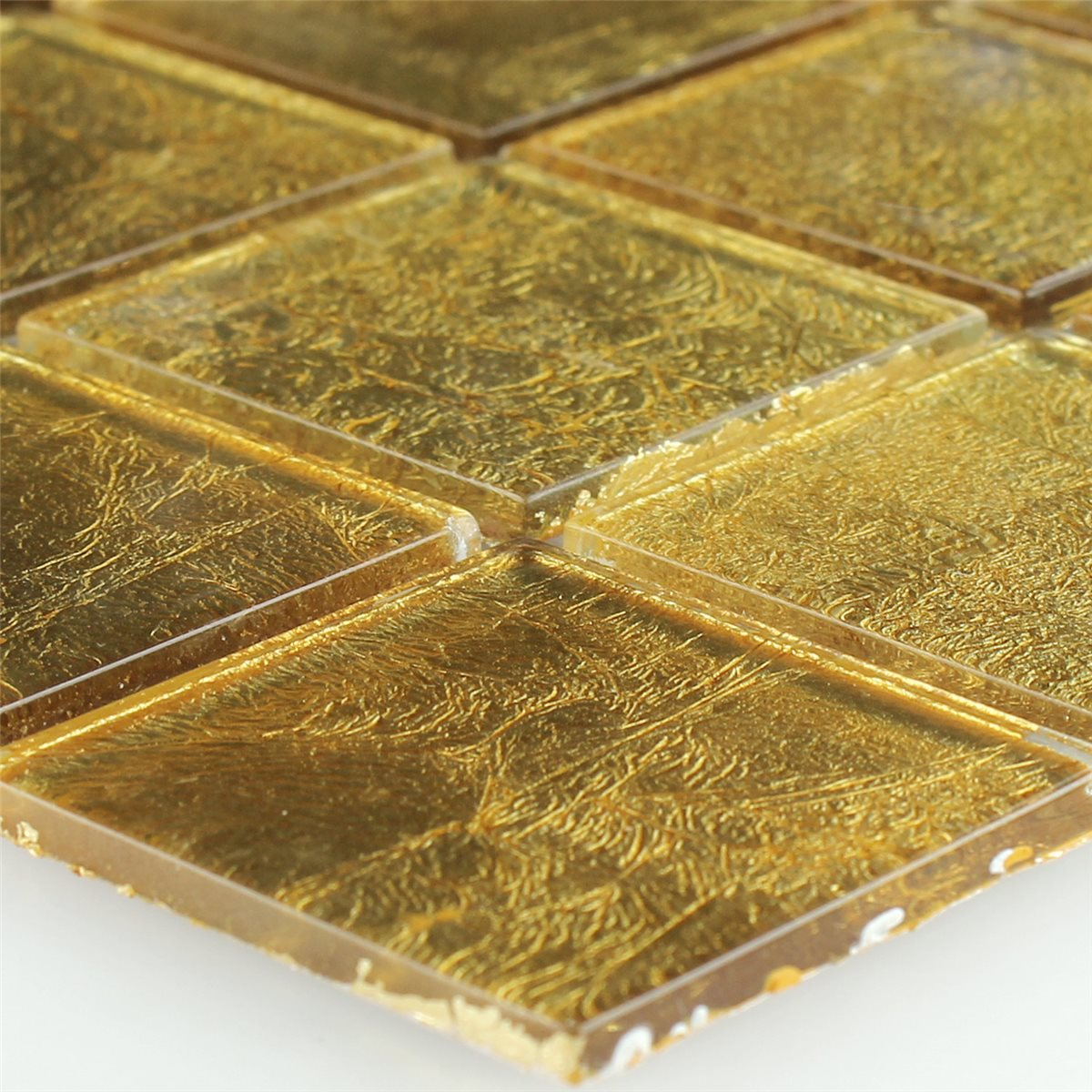 glass mosaic effect tiles gold 48x48x4mm