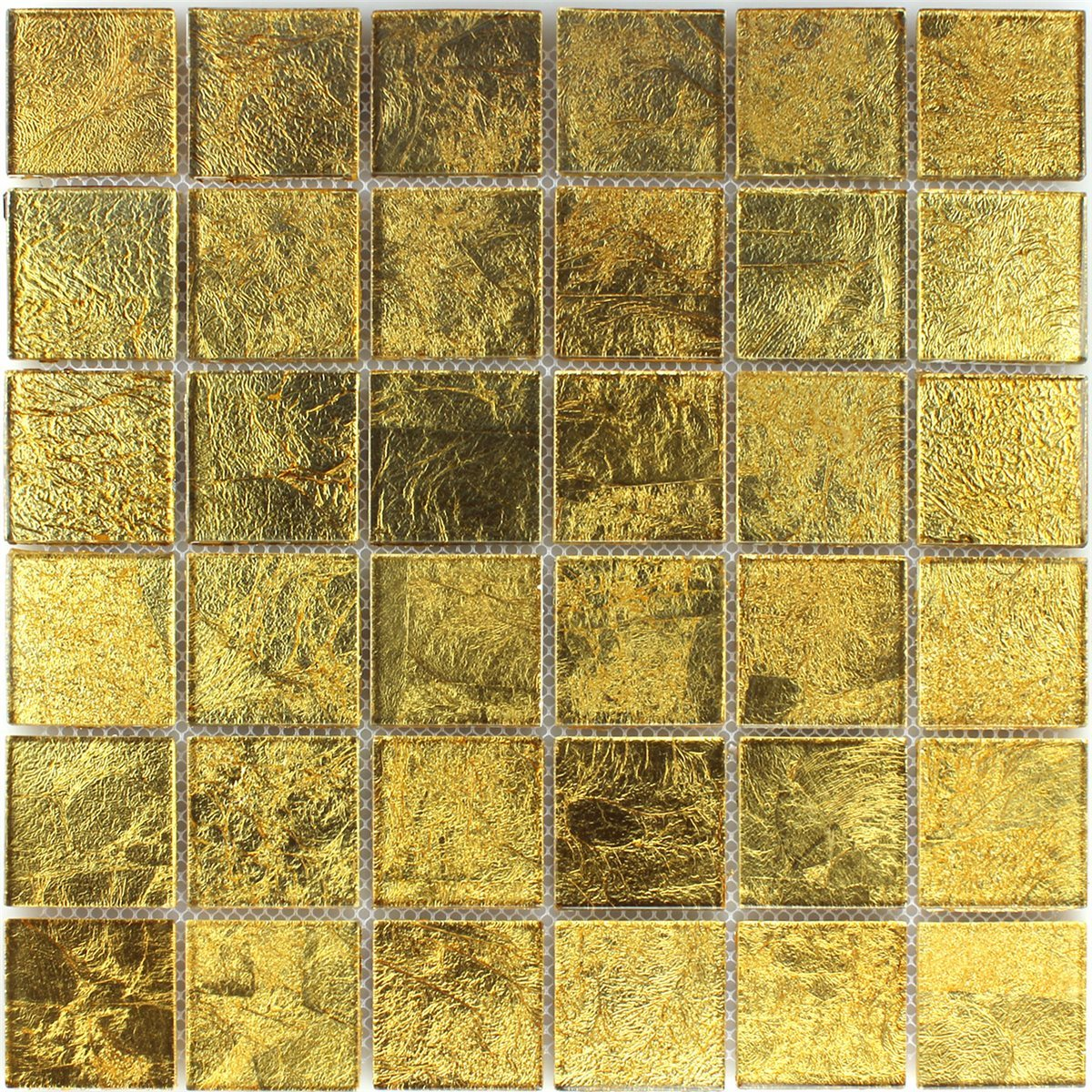Glass Mosaic Effect Tiles Gold 48x48x4mm | www.mosafil.co.uk