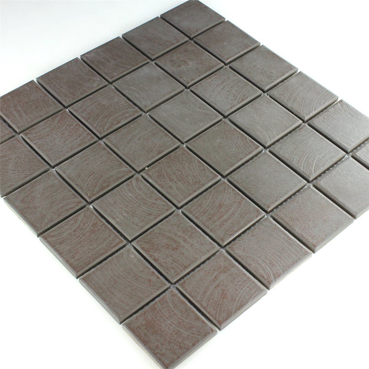 Ceramic Mosaic Tiles Non Slip Brown Structured