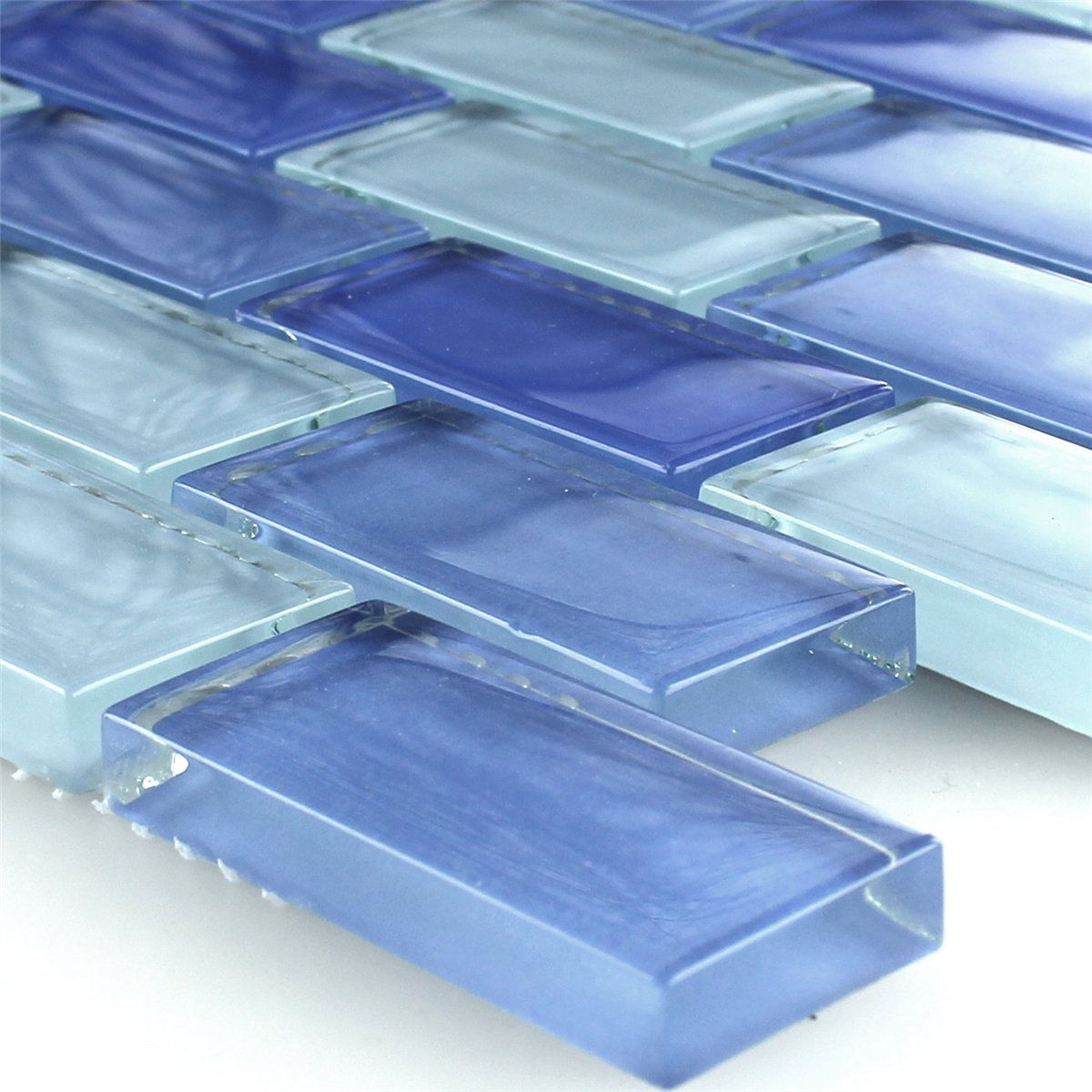 Clear Glass Crystal Tiles Brick Blue | www.mosafil.co.uk