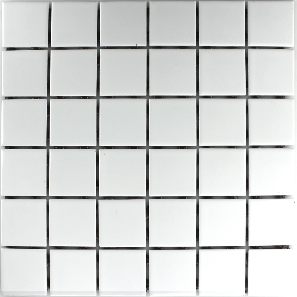 Ceramic mosaic tiles white matt 48x48x6mm ho24163m for Carrelage noir mat