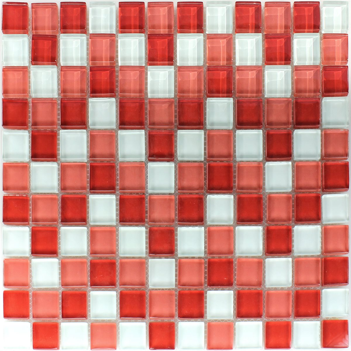 clear glass mosaic tiles white red 25x25x8mm. Black Bedroom Furniture Sets. Home Design Ideas