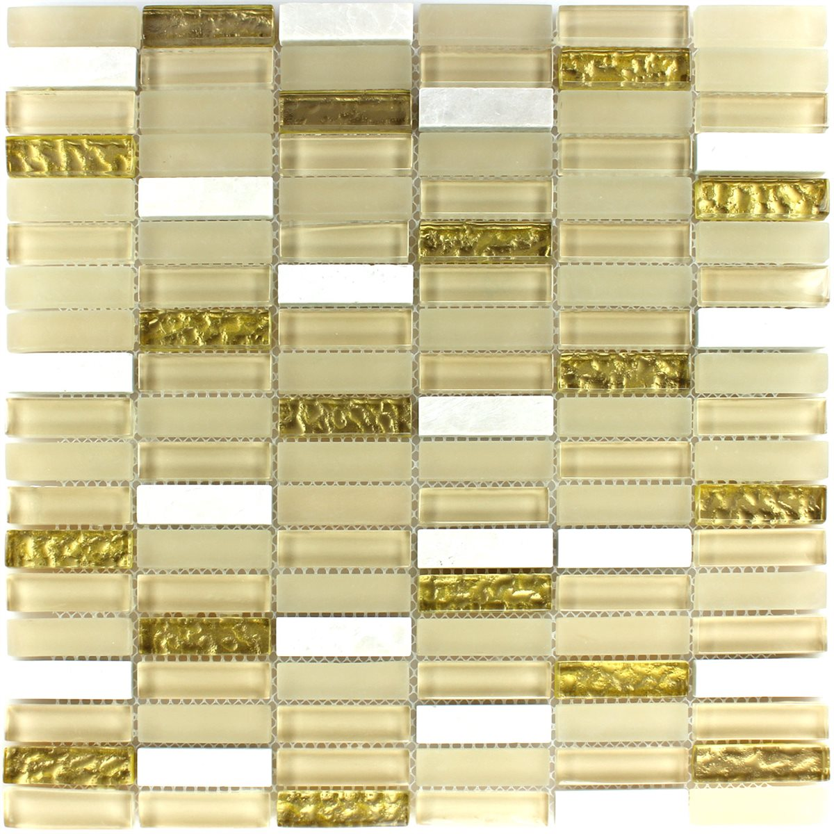 crystal glass mosaic tiles white gold mix 15x50x8mm. Black Bedroom Furniture Sets. Home Design Ideas