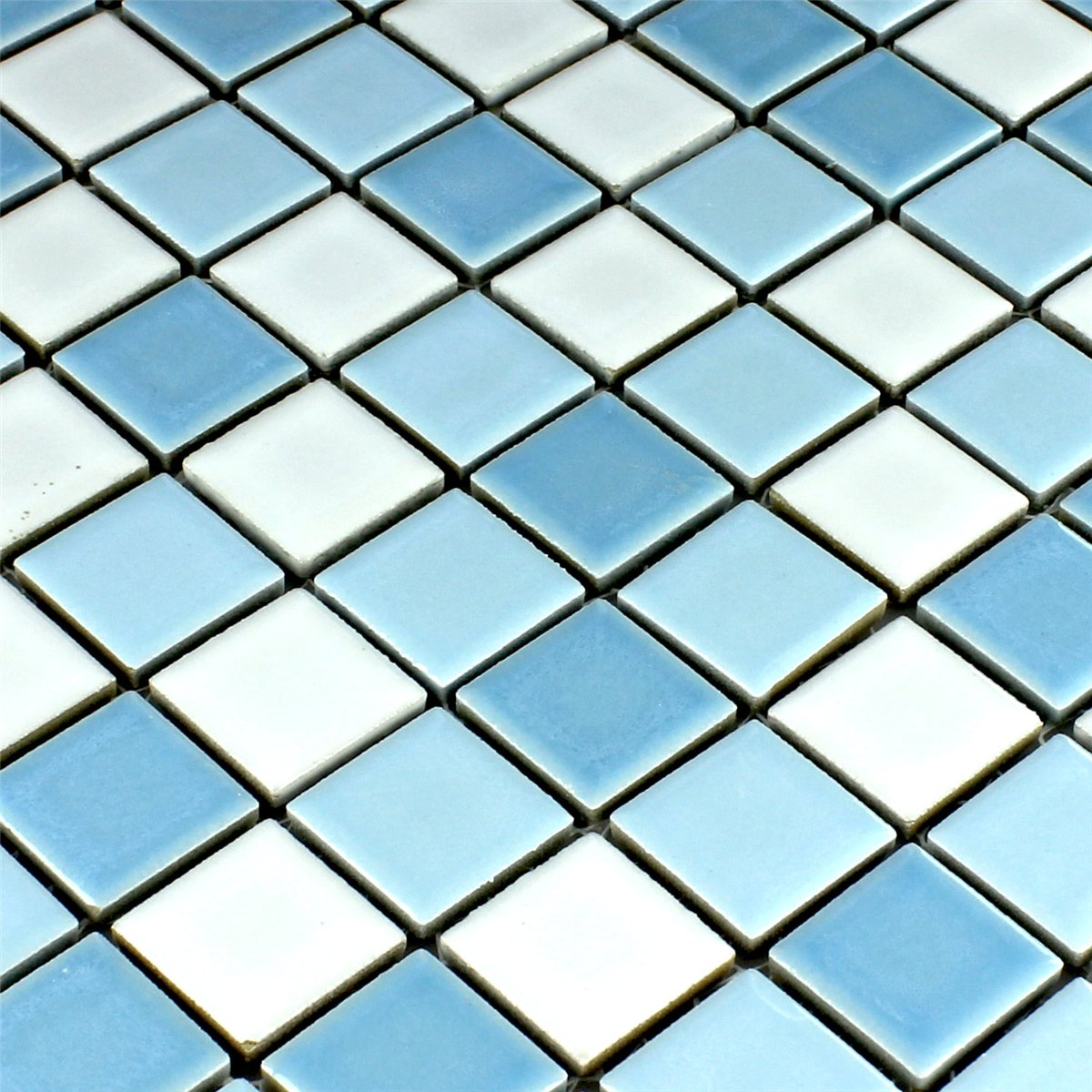 Ceramic Mosaic Tiles Blue White 25x25x5mm | www.mosafil.co.uk