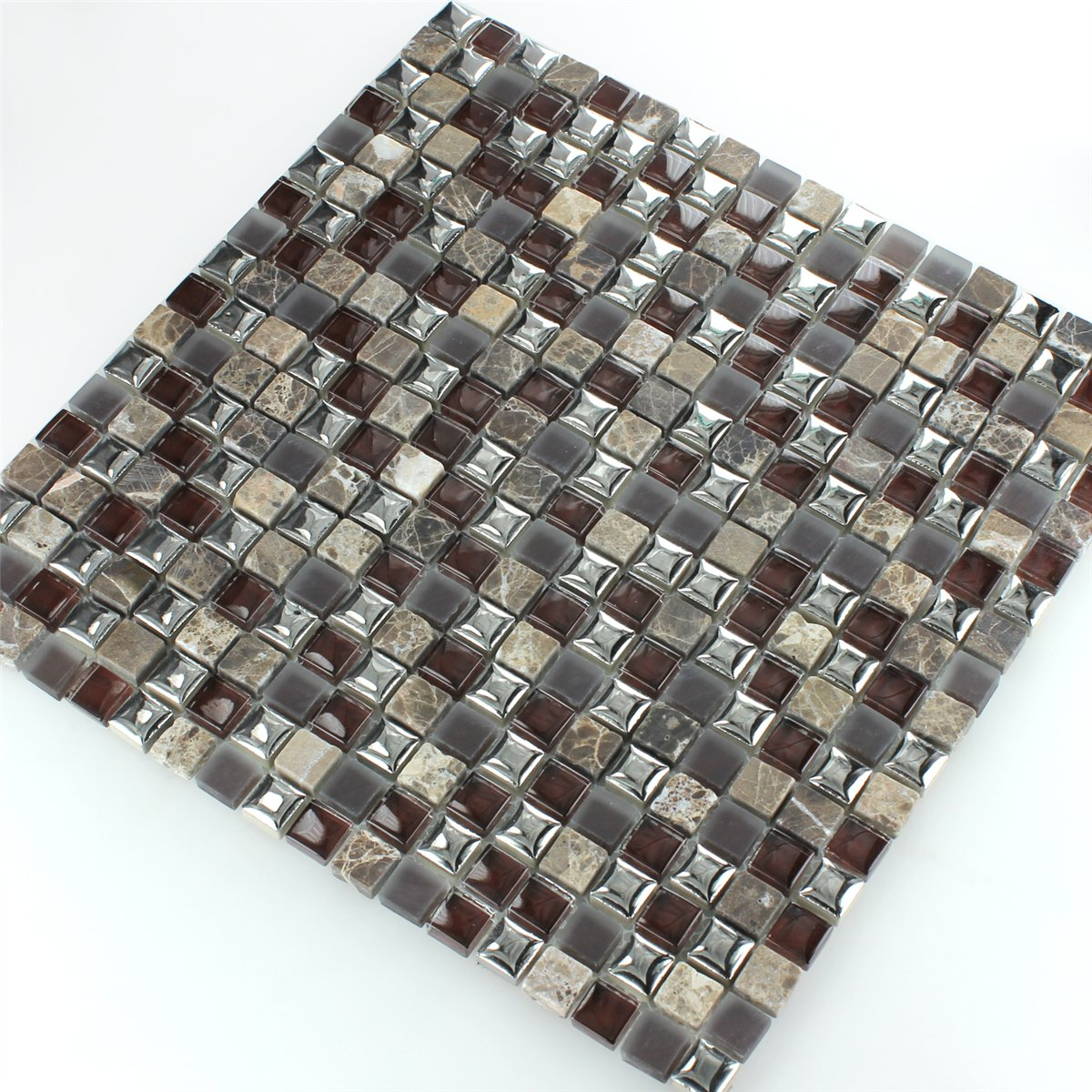 Glass Marble Ceramic Mosaic Tiles Brown Silver HT88305m