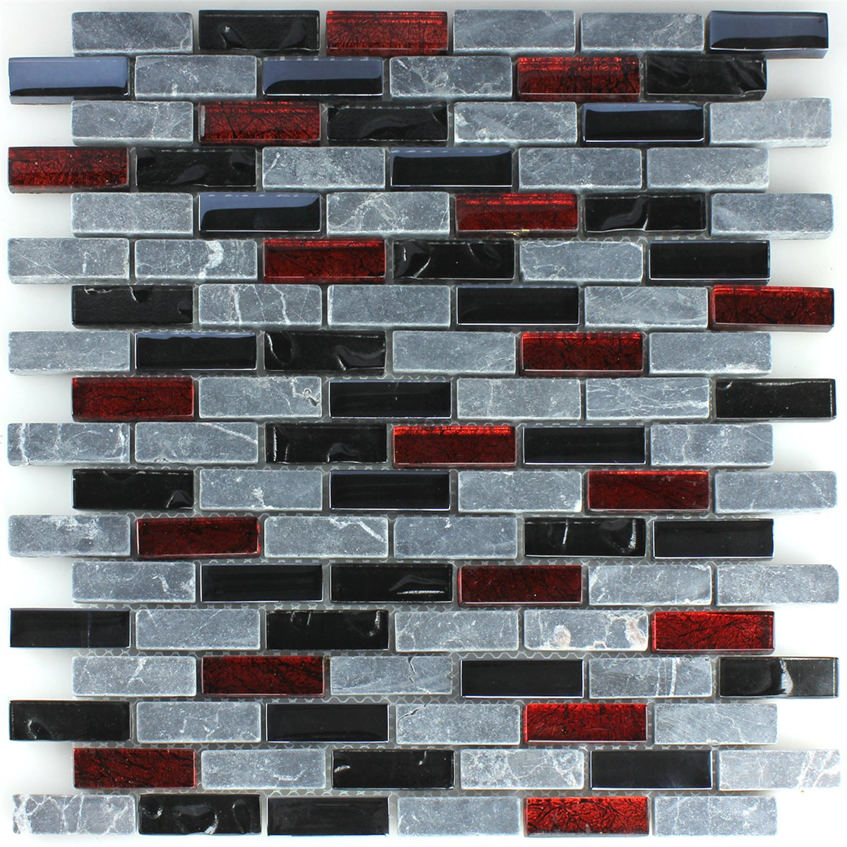 Sample Black Gray Glass Natural Stone Linear Mosaic Tile: Effect Marble Glass Mosaic Tiles Black Red Grey