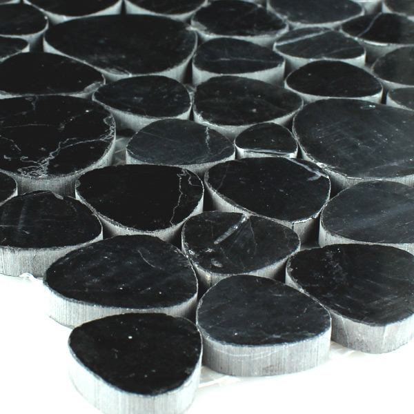 Mosaic Tiles Marble Pebble Black Polished