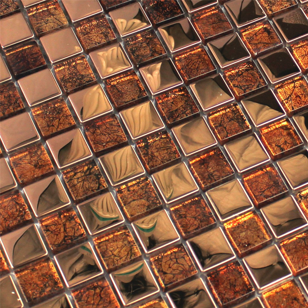 Stainless Steel Glass Mosaic Tiles Bronze Mth30040m