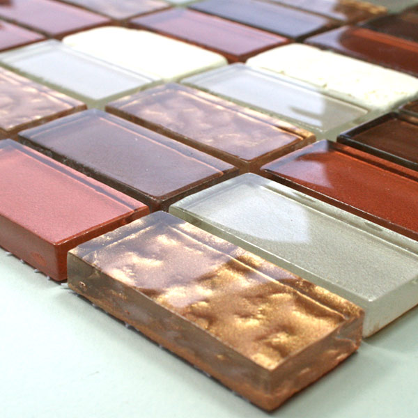 Mosaic Tiles Glass Marble 23x48x8mm Red Mix