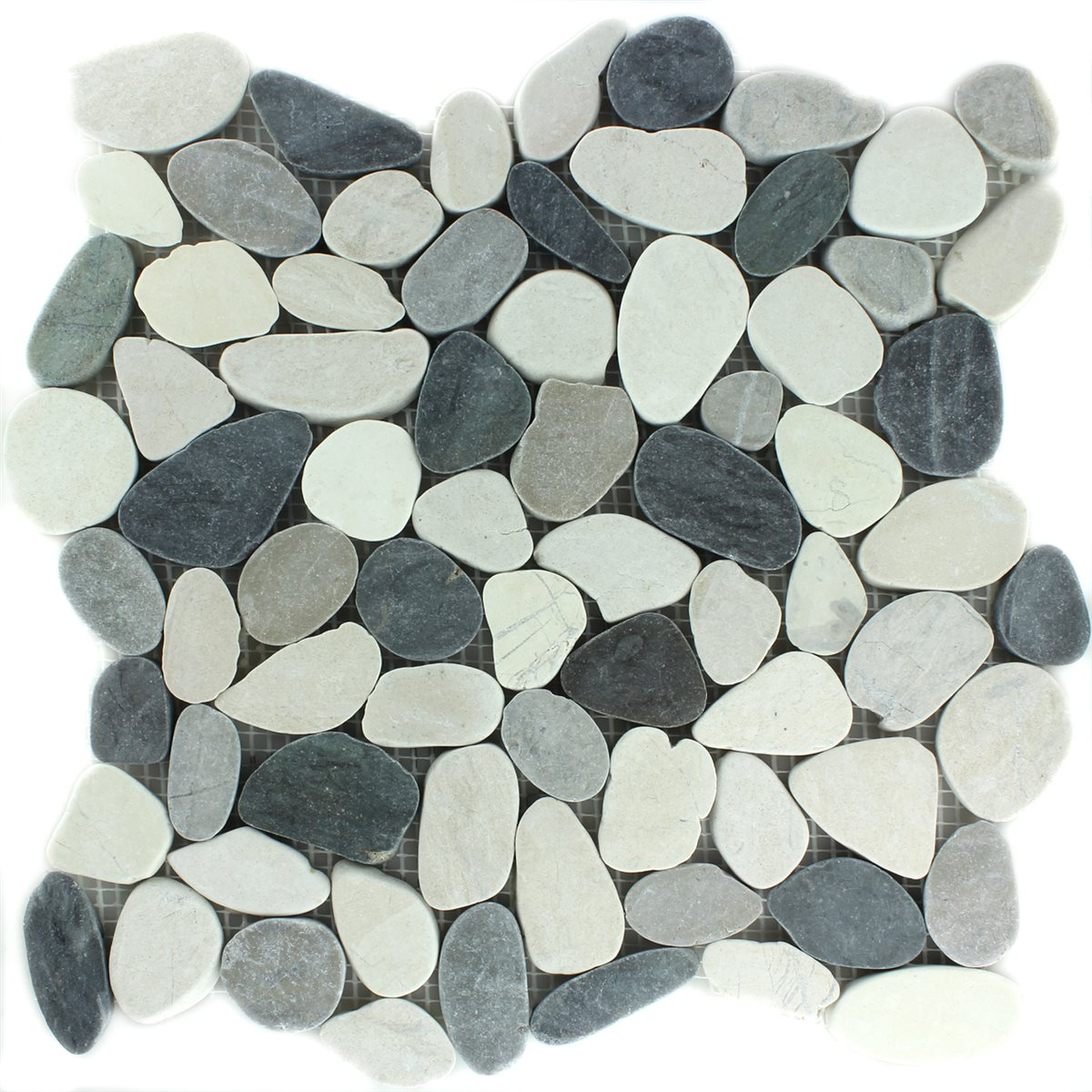 pebble stone mosaic tiles sawn creme anthracite lz69250m. Black Bedroom Furniture Sets. Home Design Ideas