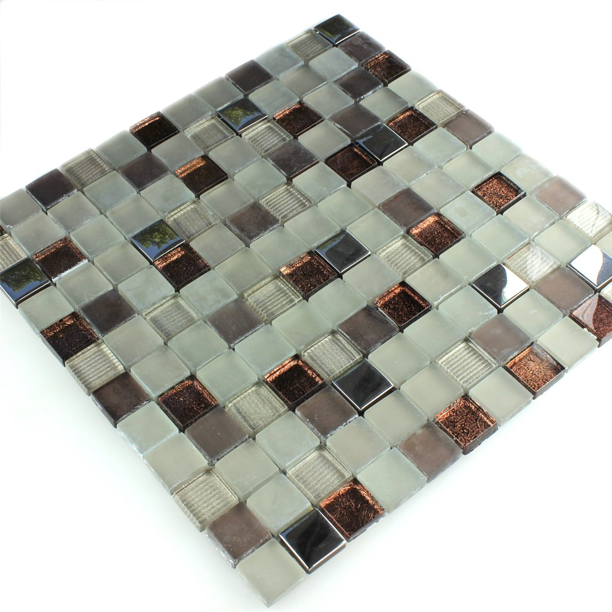glass mosaic tiles brown beige silver mix fl90054. Black Bedroom Furniture Sets. Home Design Ideas