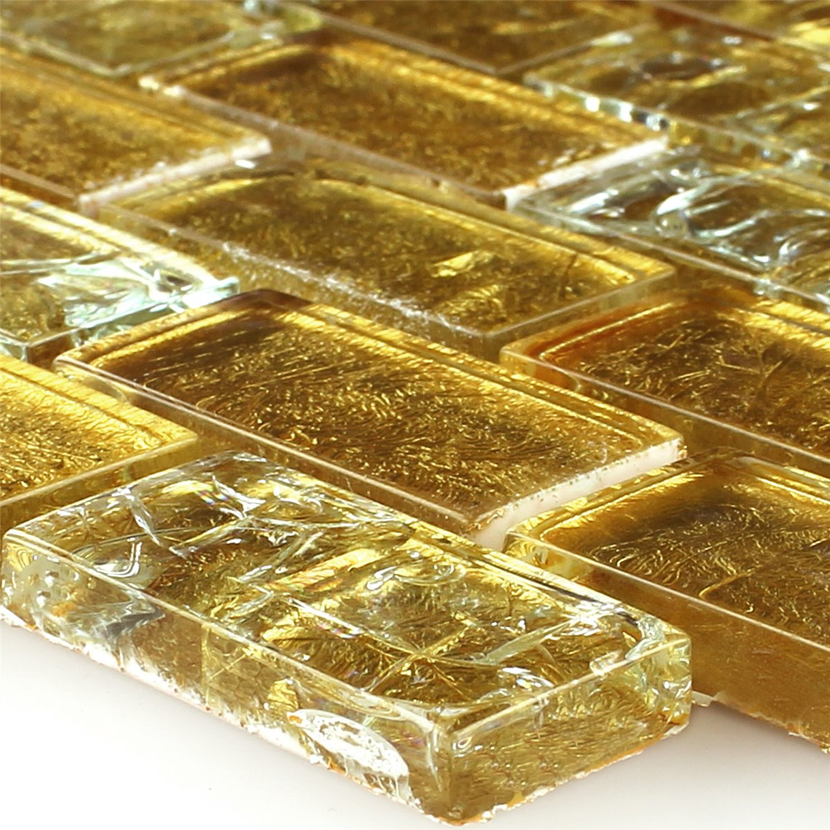 mosaic tiles glass broken glass effect gold 23x48x8mm - Mosaic Tiles