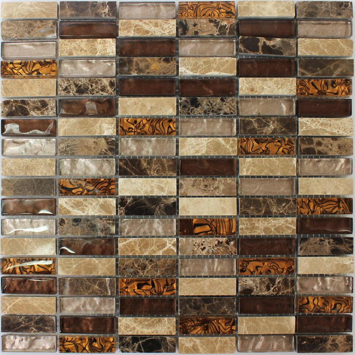 Mosaic Tiles Glass Natural Stone Beige Brown