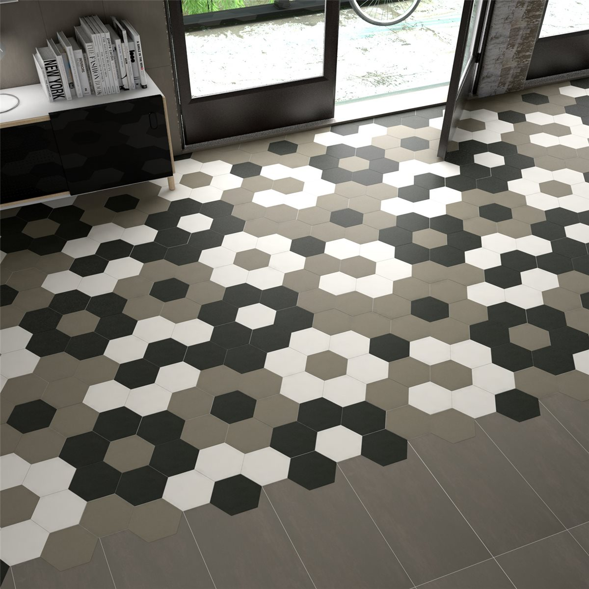 Glass mosaic wall floor tiles shop hexagon floor tiles angle dailygadgetfo Image collections