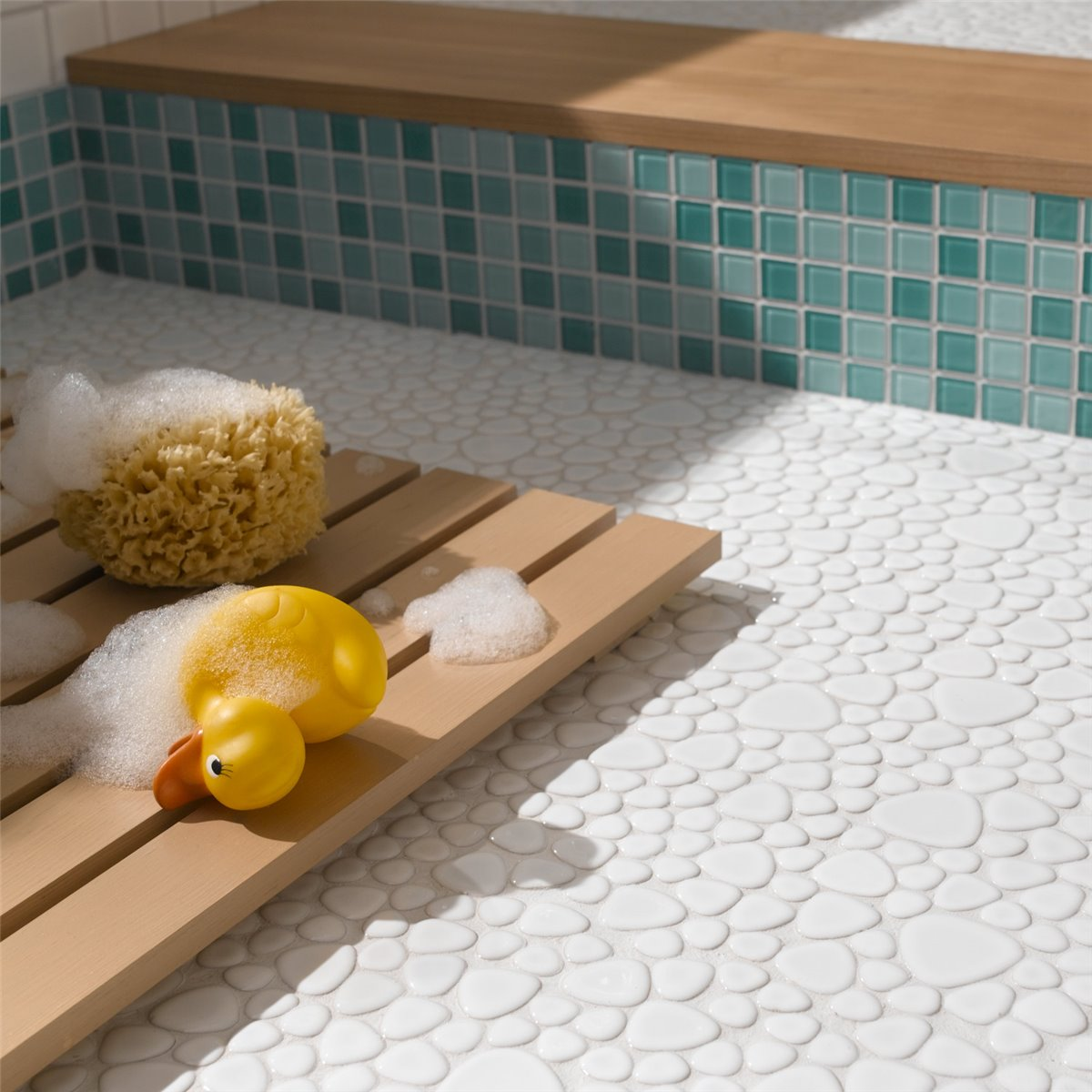 Pebbles ceramic optic mosaic tiles white mosafil mosaic tiles ceramic pebble optic white doublecrazyfo Gallery