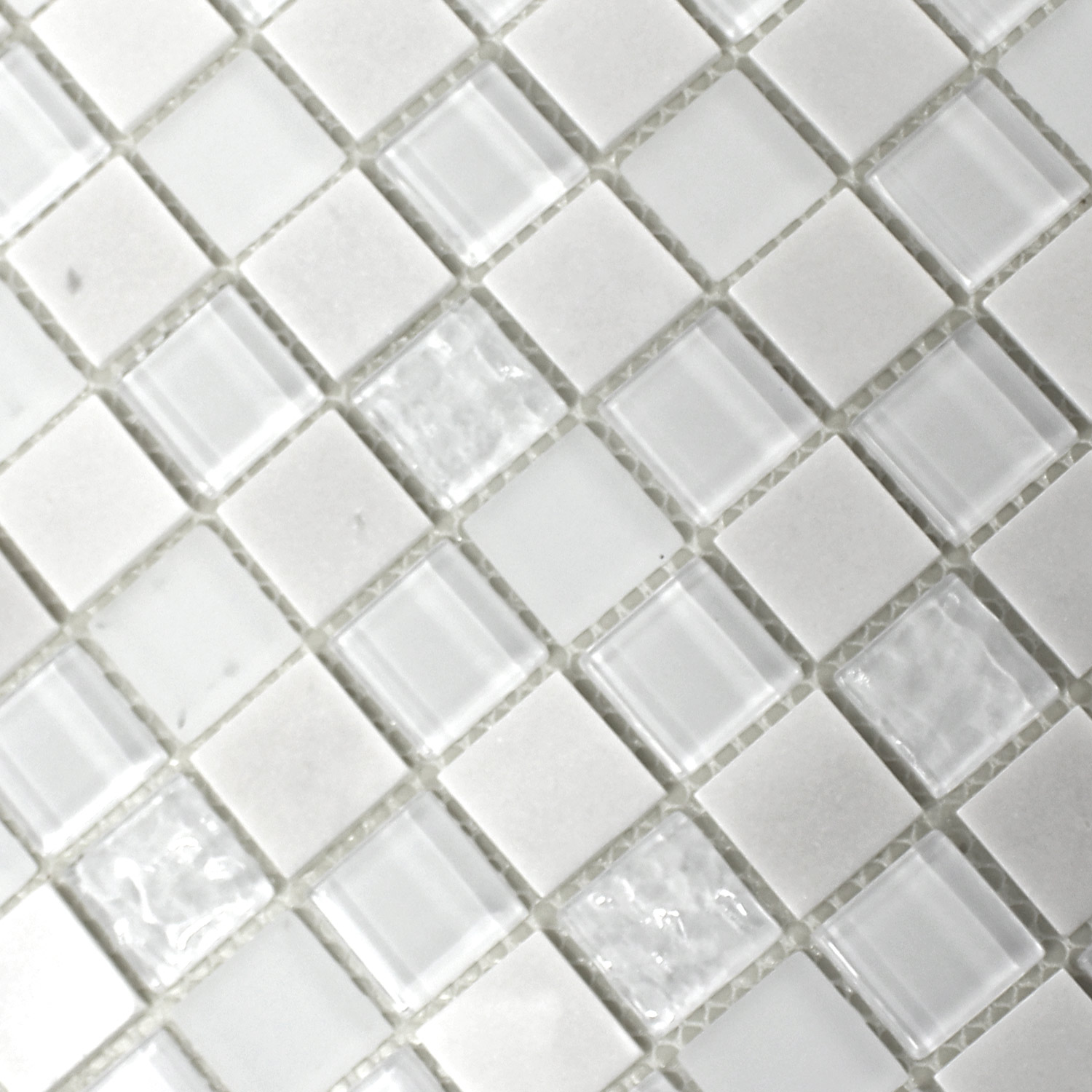 Self Adhesive Natural Stone Glass Mosaic Tiles White - TM33433