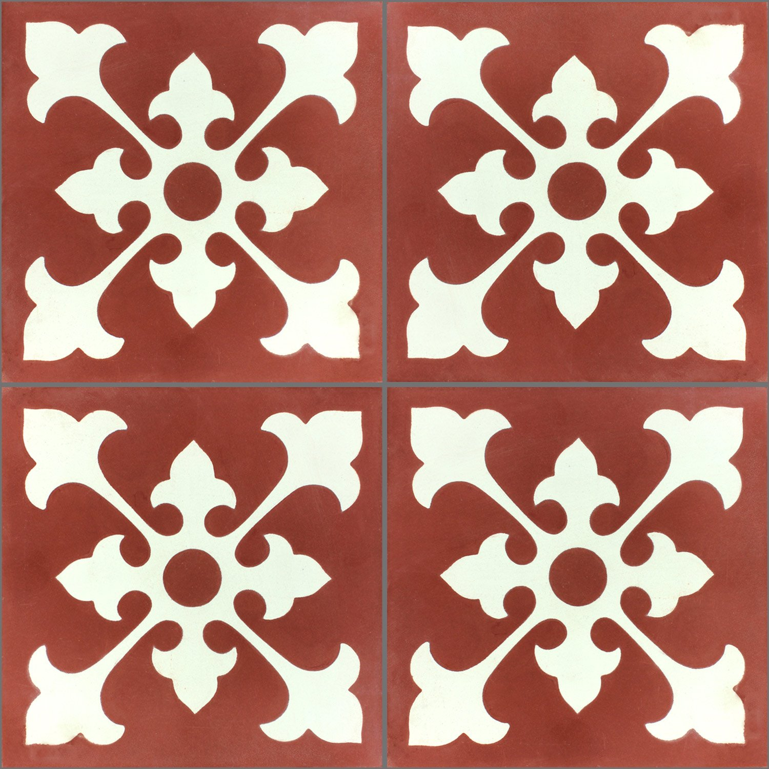 cement antique tiles 20x20cm ornament red white pl78195. Black Bedroom Furniture Sets. Home Design Ideas