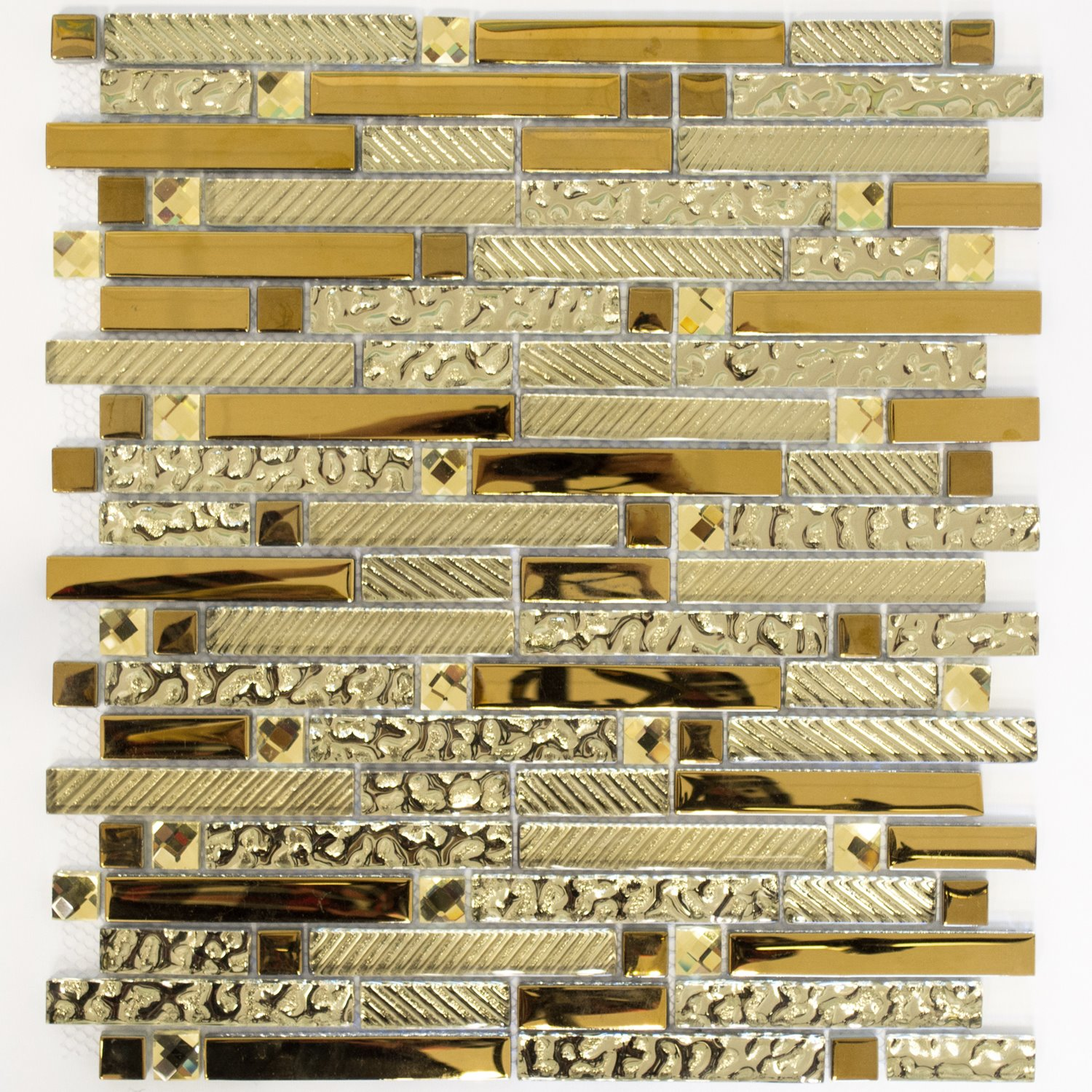 glass structured gold mosaic tiles 15x62x8mm | www.mosafil.co.uk, Hause ideen