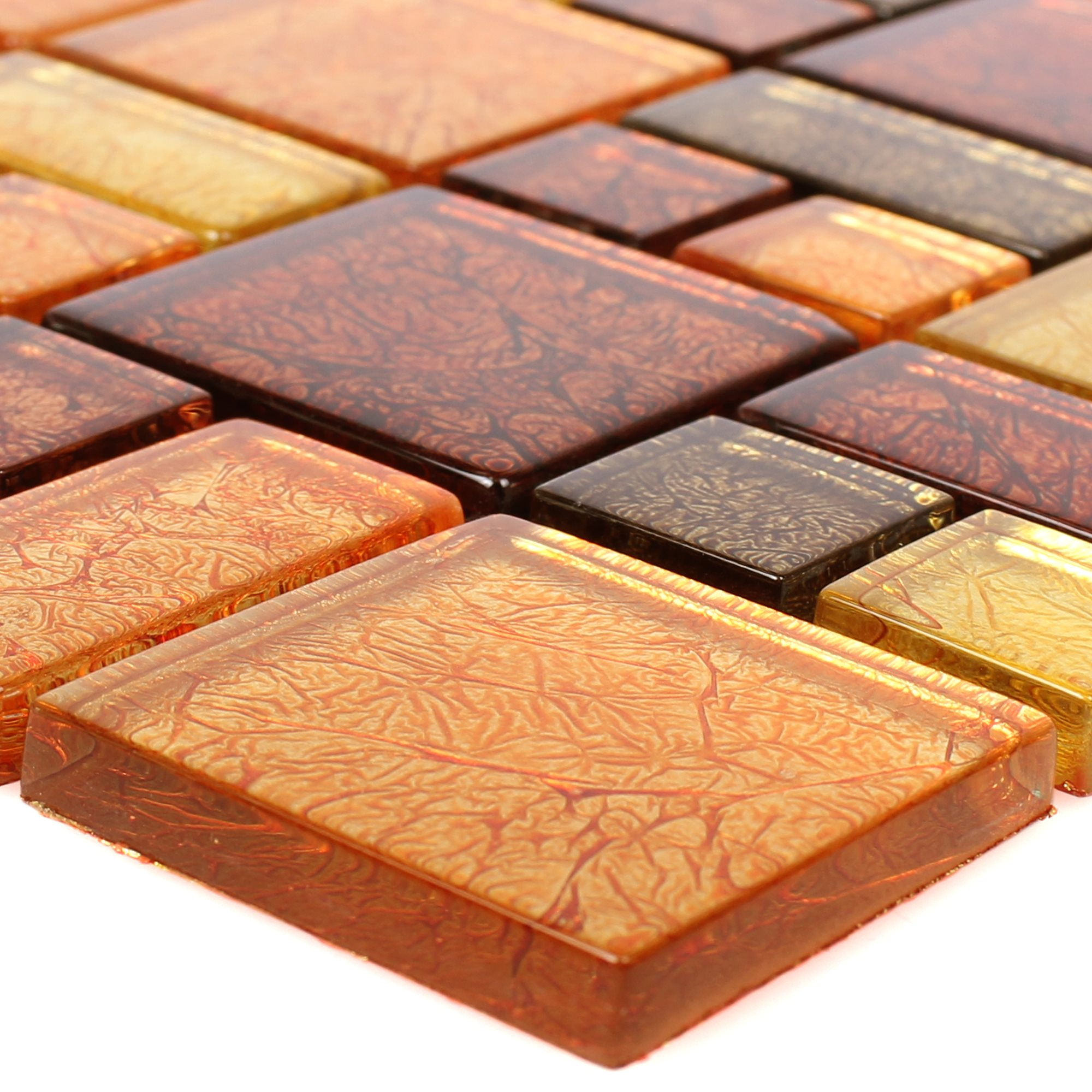 Glass Mosaic Tiles Curlew Yellow Orange 2 Mix