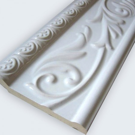 ceramic wall border 10x30cm white glossy bor weiss 100. Black Bedroom Furniture Sets. Home Design Ideas